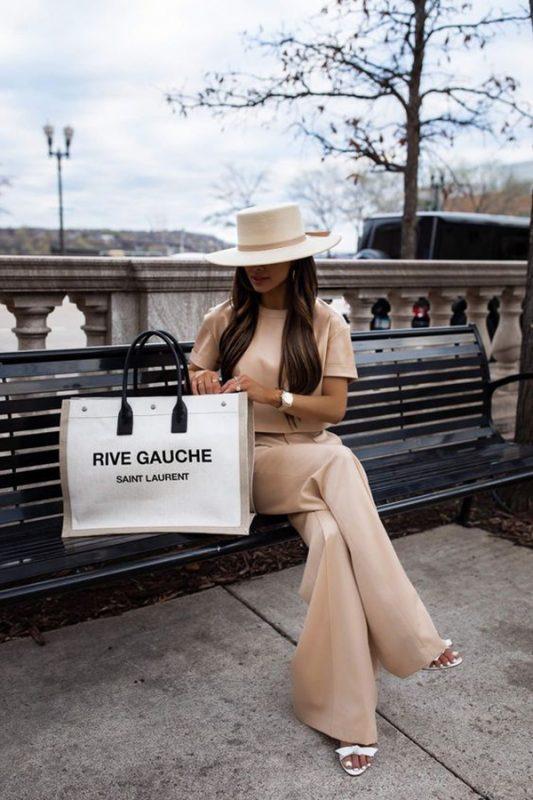 Túi Tote Rive Gauche bằng vải lanh và da