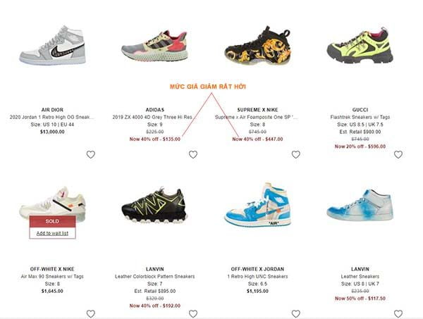 Mua giày thể thao trên RealReal với giá hời