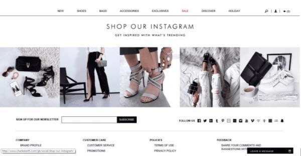Website thương mại điện tử của Charles & Keith