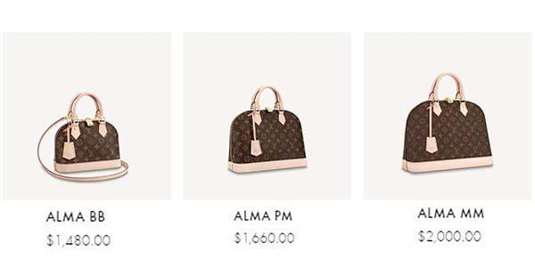 Ý nghĩa kích thước BB, PM, MM của Louis Vuitton Alma