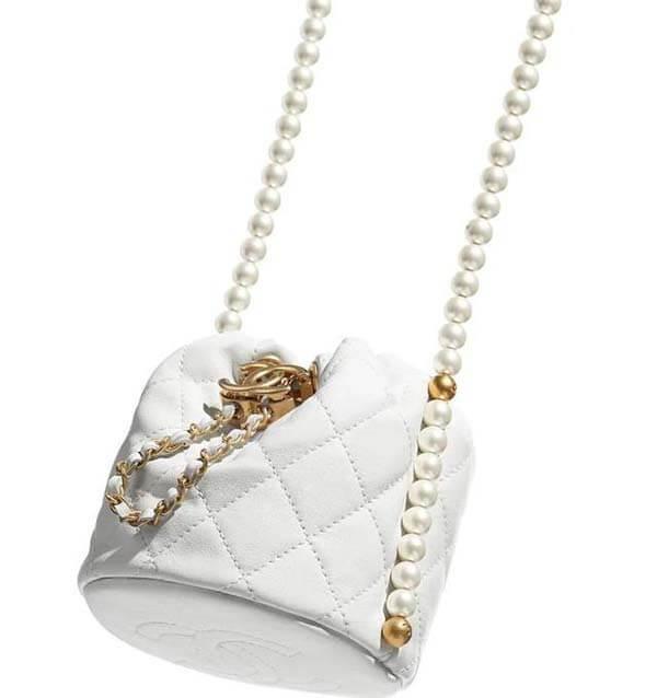 Túi Chanel dây rút mini ngọc trai