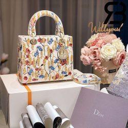 Túi Medium Dior D-Lite Hoa Vàng 24cm Best Quality 99% Auth