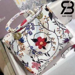 Túi Medium Dior D-Lite Trắng Hoa Hồng 24cm Best Quality 99% Auth