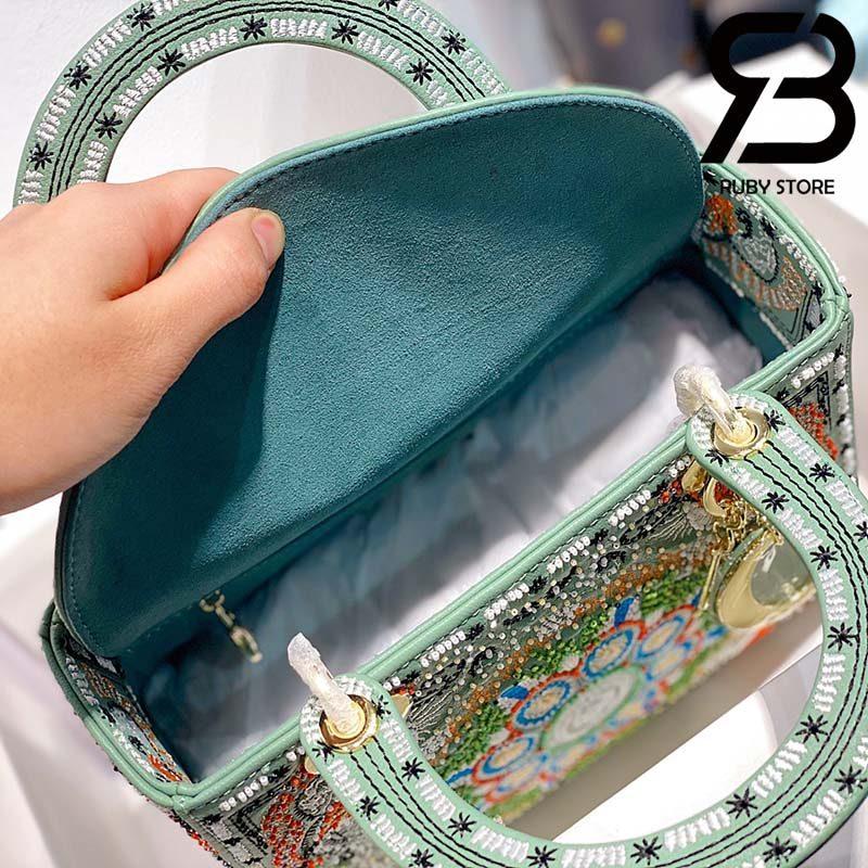 Túi Medium Dior D-Lite Xanh Matcha 24cm Best Quality 99% Auth