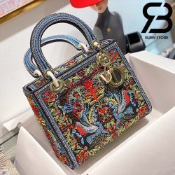 Túi Medium Dior D-Lite Xanh Navy 24cm Best Quality 99% Auth