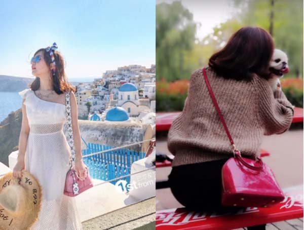 Cô gái đeo Túi LV Alma BB màu hồng