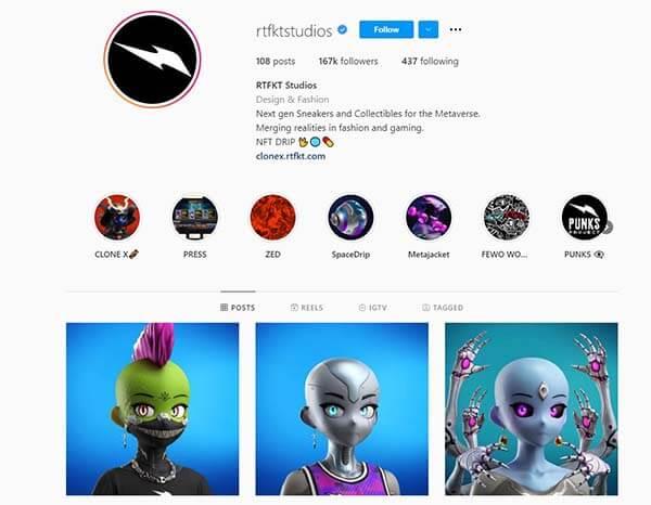 Instagram của studio RTFKT chuyên giày sneaker NFT