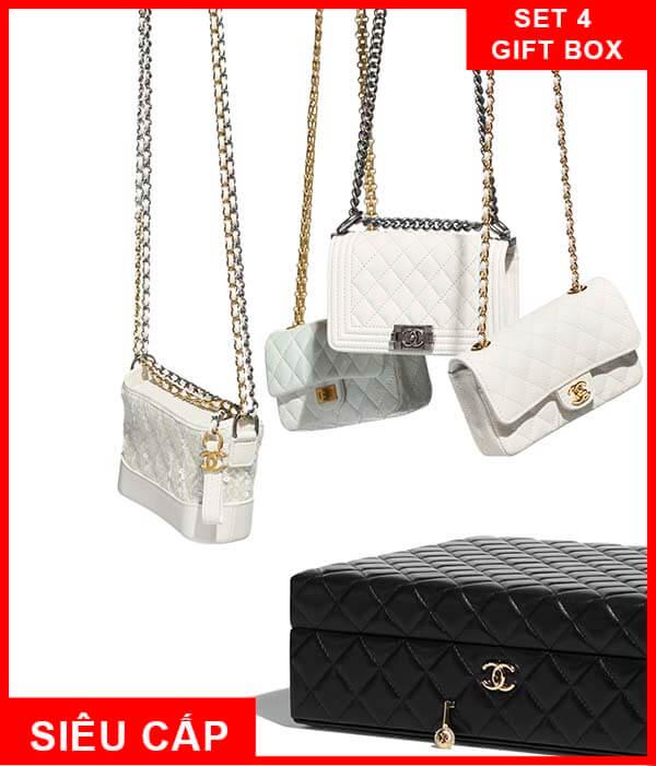 Set 4 túi Chanel White Mini Bag Gift Box